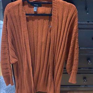 Orange ribbed cardigan